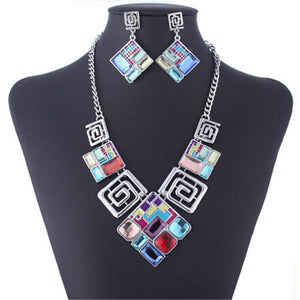 Classic Colored Glass Geometric Jewelry Sets Verkadi.com