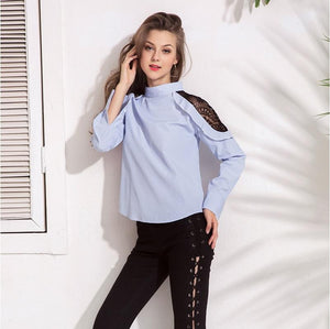 New Striped Lace Patchwork Stand Collar Top Blouse Verkadi.com
