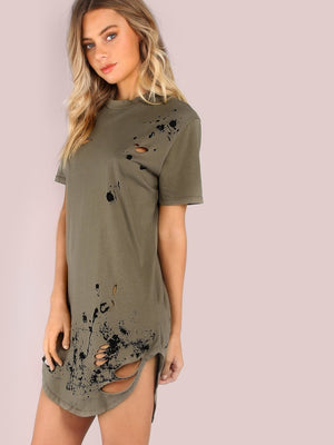 Distressed Grungy Splatter Curved Tee Top Blouse Dress Verkadi.com