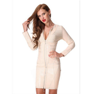 Sexy Zippers Bodycon Stylish Club Party Dress Verkadi.com