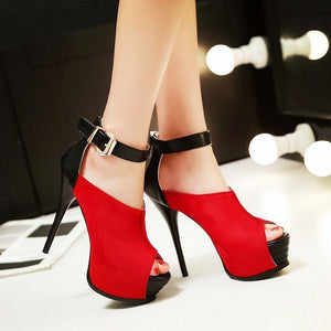 Ankle Strap High Heels Peep Toe Platform Sandals Stilettos