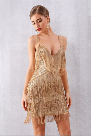 Sexy V Neck Sequin Tassels Fringe Club Party Mini Dress