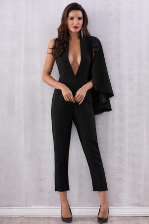 halter bat wing sleeve jumpsuits dresses by verkadi