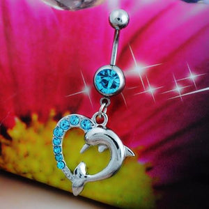 Lovely 14 G Dolphin Heart Belly Button Ring