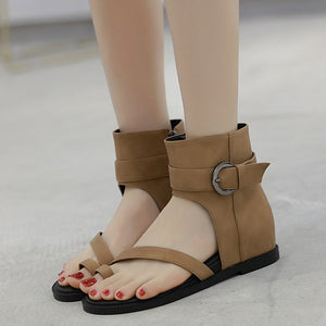 New Spring Cover Heels Buckle Flat Gladiator Sandals