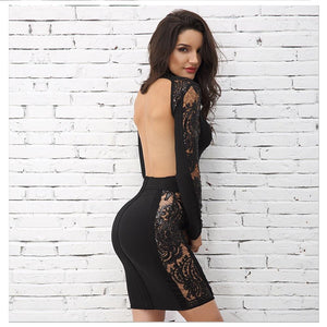 Elegant Long Sleeve Black Lace Backless Mini Party Dress Verkadi.com