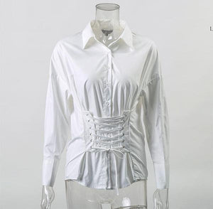 Sexy Up Waist White Long Sleeve Cotton Blouse Top Verkadi.com