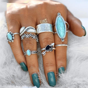 Vintage Big Stone Midi Antique Silver Knuckle Ring Set