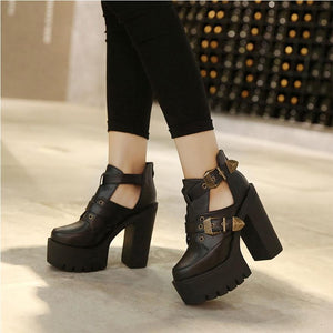 Round Toe Platform Thick Chunky High Heels Pumps Boots Shoes Verkadi.com