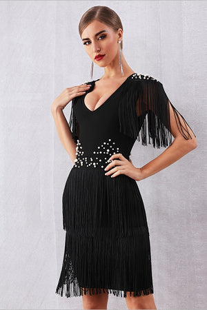 Hot Short Sleeve Fringe Tassel Pearl Midi Party Club Dress