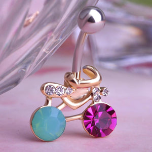 Bicycle Shaped Crystal Dangle Navel Piercing Belly Button Ring