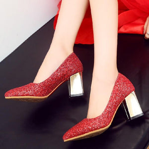 Bling Pointed Toe Glitter High Heel Pump Shoes