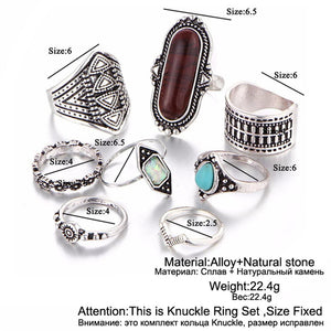 Vintage Stone Midi Knuckle Rings Set