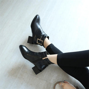 Buckle Strap Pointed Toe Chunky Heel Ankle Boots