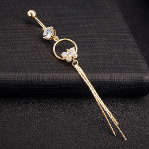 Zircon Gold-Color Tassels Belly Button Ring
