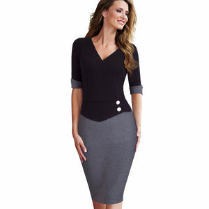 Button Sheath Fitted Pencil Elegant Work Dress