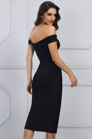 Opulent Bandage Off Shoulder Bodycon Runway Party Midi Dress