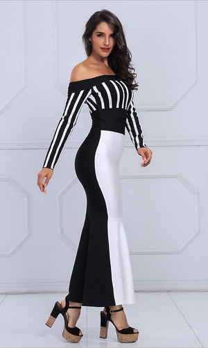 Sexy Long Sleeve Striped Slash Neck Evening Party Dress
