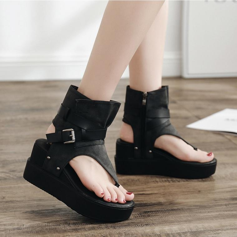 Modern Wedges High Heel Open Toe Flock Summer Sandals Verkadi.com