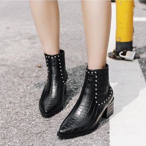 Riveted Chelsea Pointed Toe Ankle Boots Verkadi.com
