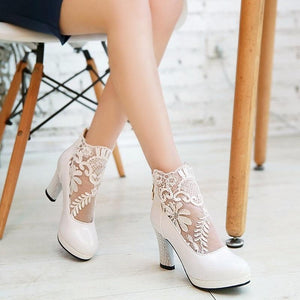 Classy High Heels Bridal Club Style Lace Pumps Shoes