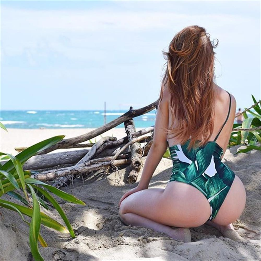 One Piece Leaf Print Hollow Out Bathing Swimsuit