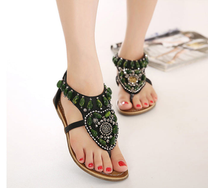 Vintage Green Rhinestone Slip On Casual Sandals Verkadi.com