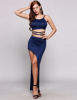 Sexy Sleeveless Bandage Crop Top High Slit Dress