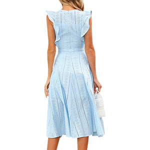 Cool A-line Lace Ruffles Sleeveless Casual Midi Dress