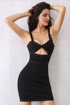 Sexy V Neck Spaghetti Strap Hollow Out Party Mini Dress