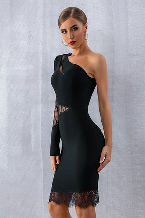 Hot Bandage One Shoulder Lace Bodycon Party Club Midi Dress