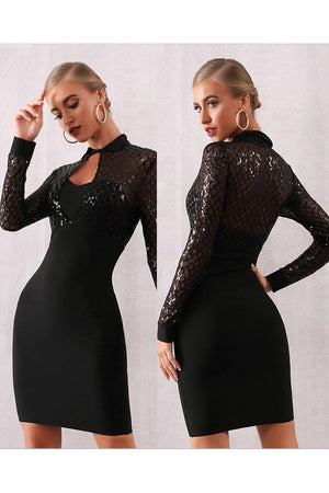 Long Sleeve Bodycon Bandage Sequin Lace Club Party Mini Dress