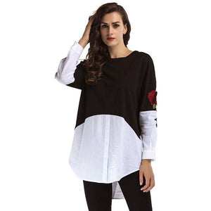 Fashion Color Block Embroidery Long Sleeve Casual Blouse Top Verkadi.com