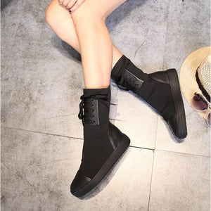 Streetwear Genuine Leather Knitted Wool Mid Calf Boots