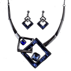 Trendy Blue Crystal Resin Fashion Jewelry Set Verkadi.com