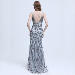 Backless Crystal Beaded Sequins Evening Party Dress Gown Verkadi.com