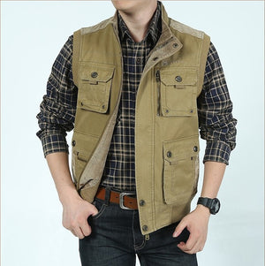 Cotton Casual Multi Pocket Photographers Military Vest