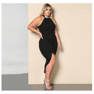 Elegant Euro Style Halter Neck Sleeveless Bodycon Plus Size Dress