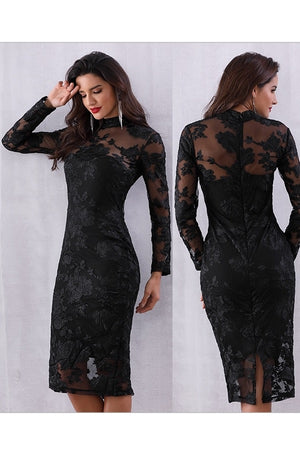 Chic Long Sleeve Hollow Out Runway Party Evening Midi Dress