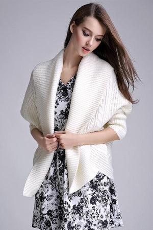 Loose Bat-Wing Sleeves Knitted Sweater Cardigan