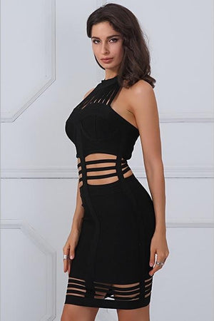 Bandage Hollow Out Halter Runway Mini Dress