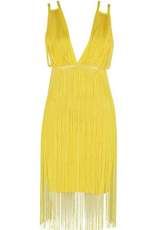 Spaghetti Strap Tassel Fringe Club Mini Dress