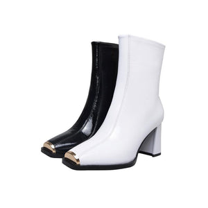 Ankle Boots Square Toe Zipper Leather High Heeled