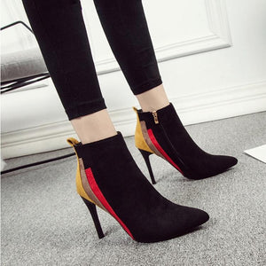 Multi Color Patchwork High Heels Chelsea Ankle Boots