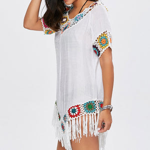 Sexy Crochet Cotton Knitted Tassel Beach  Beach Cover Up Dress