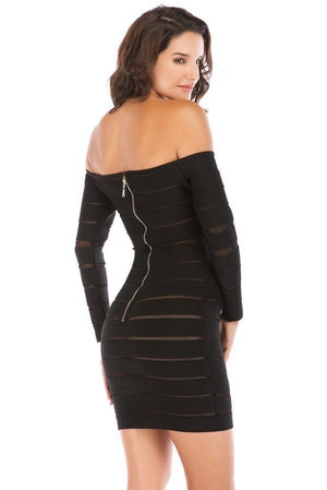 Off Shoulder Bandage Hollow Out Mini Dress