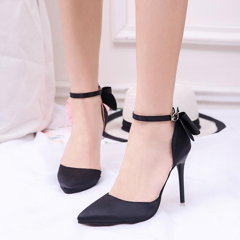 1fde37c08ca2 ... Pointed Toe Back Bow Tie Ankle Strap Shoes Verkadi.com ...