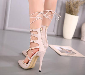 European Style Hollow Cross Lace Up Rivets Stiletto Shoes
