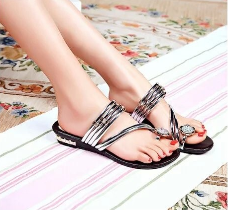 New Fashion Stripes Rhinestone Summer Sandals Verkadi.com