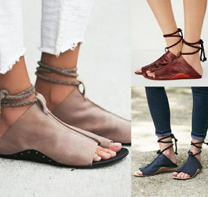 Smart Ankle Strap Lace Up Summer Flat Sandals Verkadi.com
